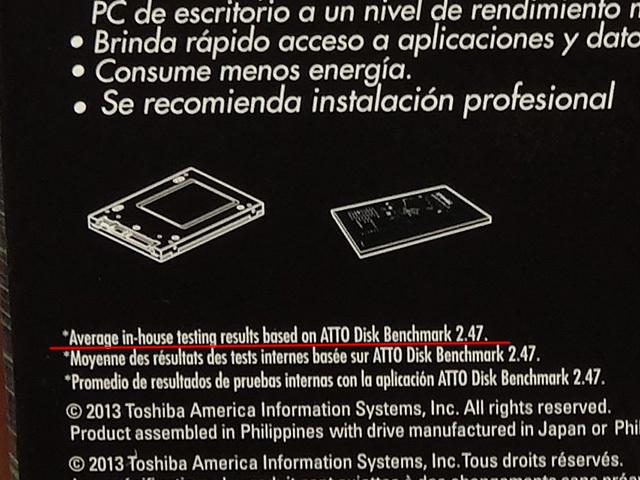 パッケージ裏面には、「testing results based on ATTO Disk Benchmark 2.47」とある。ただし、us.toshiba.comのウェブサイトでは、バージョンが2.46とされている