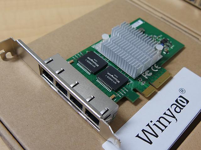 「WYI350-T4」(4ポート版、I350-AM4、PCI Express x4接続)