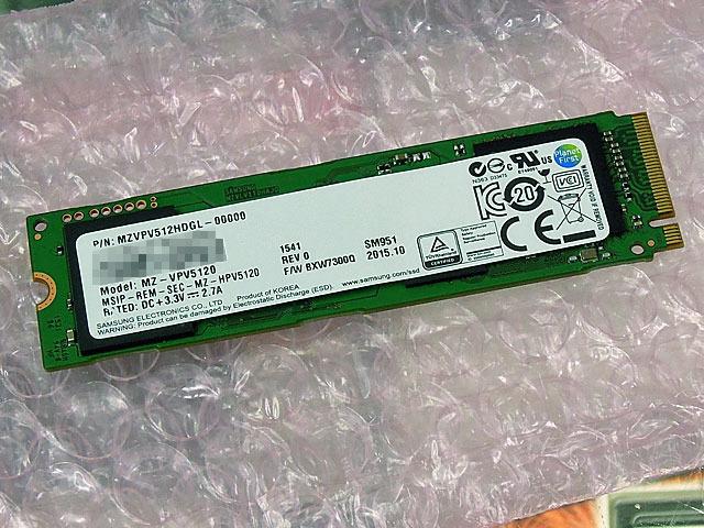 容量512GBのNVMe対応M.2 SSD「MZVPV512HDGL-00000」がSAMSUNGから!
