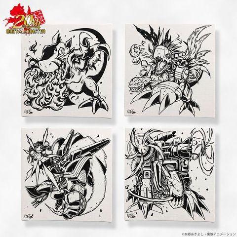 デジモンシリーズ20周年を記念したデジモンアートアイテムから、渡辺けんじ氏描き下ろしデザインの蓄光ファブリックボードが登場