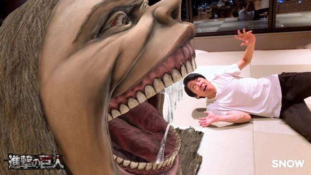 TVアニメ「進撃の巨人」×アプリ「SNOW」コラボ第2弾!「巨人と一緒に撮影できる」ARスタンプ配信開始!