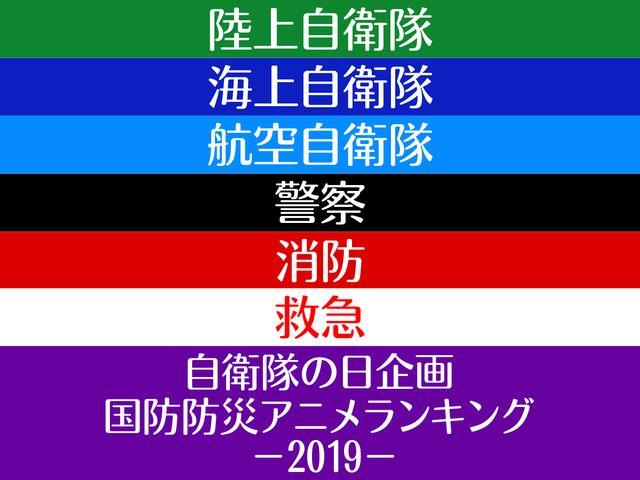 自衛隊の日企画。国防防災アニメランキング 2019